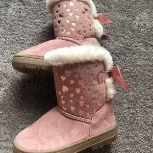 Pink gold foil winter boots